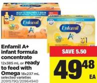 Enfamil A+ Infant Formula Concentrate - 12x385 mL or Ready To Feed With Omega - 18x237 mL
