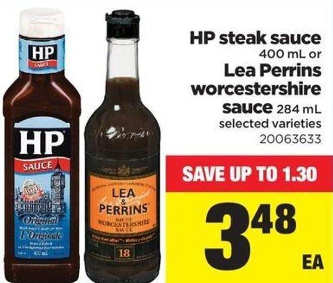 HP Steak Sauce - 400 Ml Or Lea Perrins Worcestershire Sauce - 284 Ml