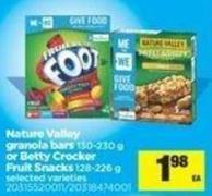 Nature Valley Granola Bars - 130-230 G Or Betty Crocker Fruit Snacks - 128-226 G