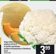 Large White Cauliflower Or Jumbo Cantaloupe