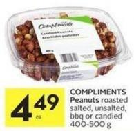 Compliments Peanuts Roasted Salted - Unsalted - Bbq or Candied 400-500 g