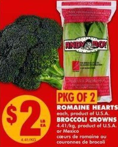 Romaine Hearts - Broccoli Crowns - Pkg Of 2
