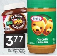 Kraft Peanut Butter 750 G-1 Kg or Hazelnut Spread 725 g