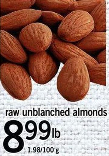 Raw Unblanched Almonds