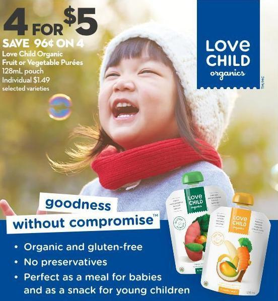 Love Child Organic  Fruit or Vegetable Purées 128ml Pouch