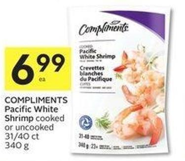 Compliments Pacific White Shrimp Cooked or Uncooked 31/40 Ct 340 g