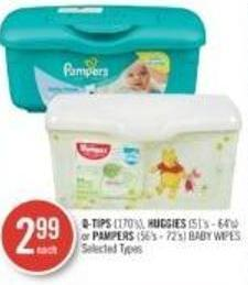 Q-tips (170's) - Huggies (51's - 64's) or Pampers (56's - 72's) Baby Wipes