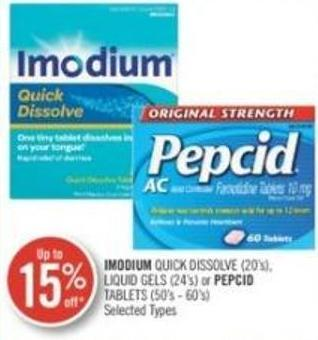 Imodium Quick Dissolve (20's) - Liquid Gels (24's) or Pepcid Tablets (50's - 60's)