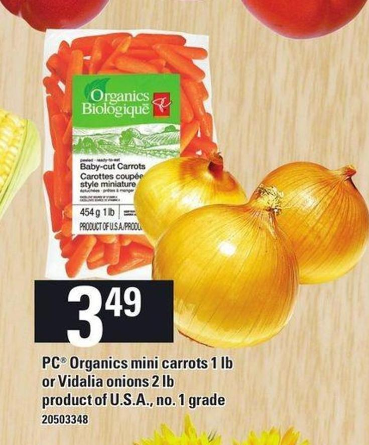 PC Organics Mini Carrots 1 Lb Or Vidalia Onions 2 Lb