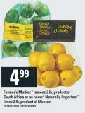 Farmer's Market Lemons 2 Lb - Product Of South Africa Or No Name Naturally Imperfect Limes 2 Lb