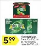 Perrier Slim Cans 10x250 mL or Perrier & Juice 6x330 mL