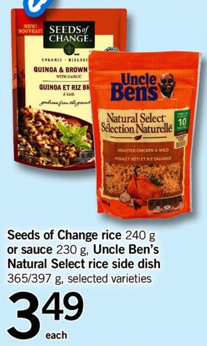 Seeds Of Change Rice - 240 G Or Sauce - 230 G - Uncle Ben's Natural Select Rice Side Dish - 365/397 G