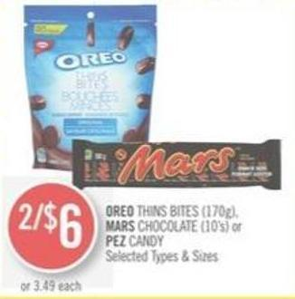 Oreo Thins Bites (170g) - Mars Chocolate (10's) or Pez Candy