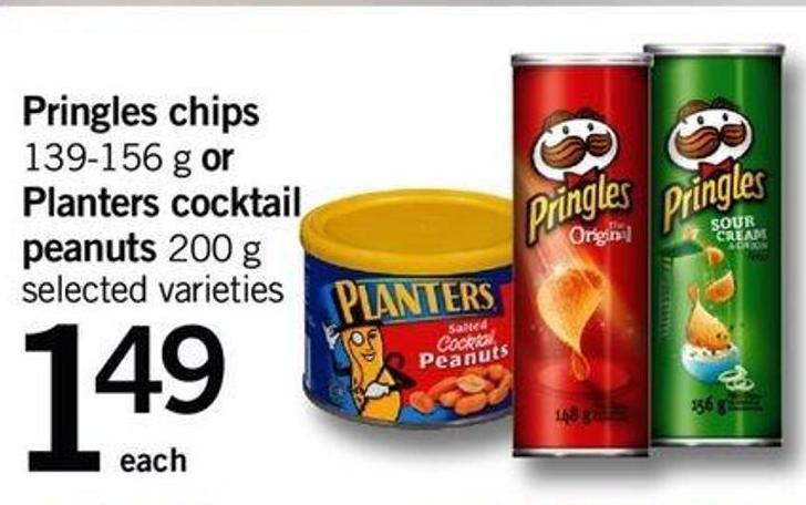 Pringles Chips - 139-156 G Or Planters Cocktail Peanuts - 200 G