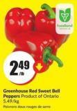 Greenhouse Red Sweet Bell Peppers Product of Ontario 5.49/kg