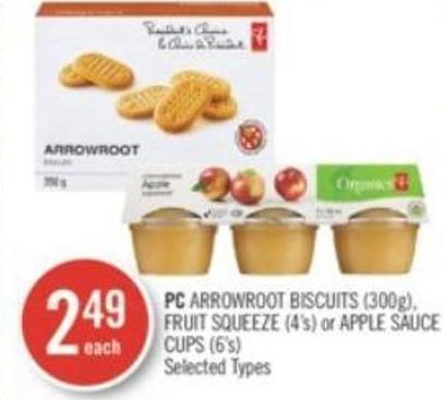 PC Arrowroot Biscuits (300g) - Fruit Squeeze (4's) or Apple Sauce Cups (6's)