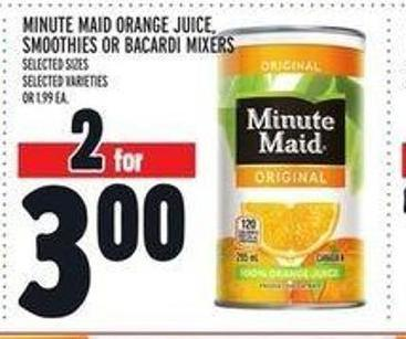Minute Maid Orange Juice - Smoothies or Bacardi Mixers