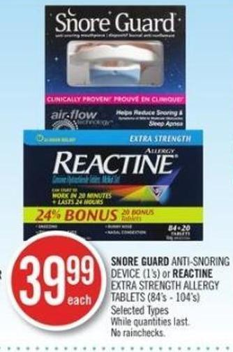 Snore Guard Anti-snoring Device (1s') or Reactine Extra Strength Allergy Tablet (84s' - 104's)