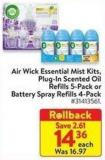 Air Wick Essential Mist Kits Plug-in Scented Oil Refills 5-pack or Battery Spray Refills 4-pack