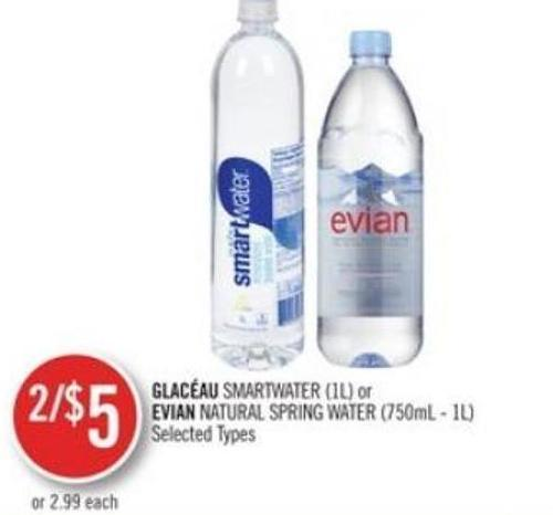 Glacéau Smartwater (1l) or Evian Natural Spring Water (750ml - 1l)