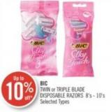 Bic Twin or Triple Blade Disposable Razors 8's - 10's