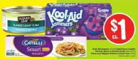 Kool-aid Jammers 10 Pk Catelli Smart - Healthy Harvest - Bistro or Ancient Grains 340-375 g Clover Leaf Skipjack Flaked or Chunk Tuna 170 g