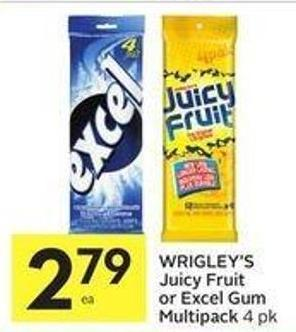 Wrigley's Juicy Fruit or Excel Gum Multipack