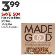 Made Good Bars  or Minis 120g Pkg