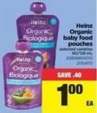 Heinz Organic Baby Food Pouches - 90-128 mL