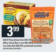 Old El Paso Dinner Kits 250-510 G - Seeds Of Change Rice 240 G - Uncle Ben's Rice 400-460 G Or Natural Select Rice Side Dish 365/397 G