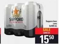 Sapporo Beer Cans 6x500 Ml