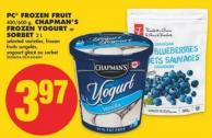 PC Frozen Fruit - 400/600 g - Chapman's Frozen Yogurt or Sorbet - 2 L