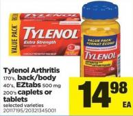 Tylenol Arthritis - 170's - Back/body - 40's - Eztabs - 500 Mg 200's Caplets Or Tablets