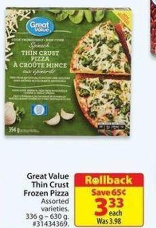 Great Value Thin Crust Frozen Pizza
