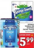 Sponge Towels Or Scotties Facial Tissue
