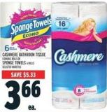 Cashmere Bathroom Tissue 8 Double Rolls Or Sponge Towels 6 Rolls