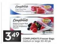 Compliments Freezer Bags Medium or Large 30-40 Pk
