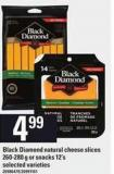 Black Diamond Natural Cheese Slices - 260/280 G Or Snacks - 12's