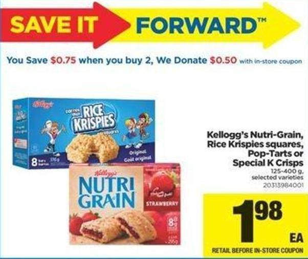 Kellogg's Nutri‑grain - Rice Krispies Squares - Pop‑tarts Or Special K Crisps - 125-400 G