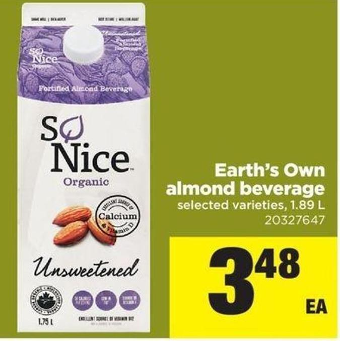 Earth's Own Almond Beverage - 1.89 L