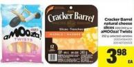 Cracker Barrel Natural Cheese Slices 220/240 G Or Amooza! Twists 252 G