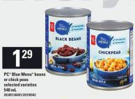 PC Blue Menu Beans Or Chick Peas - 540 mL