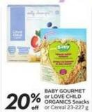 Baby Gourmet or Love Child Organics Snacks