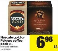 Nescafe Gold Or Folgers Coffee Pod - 12's