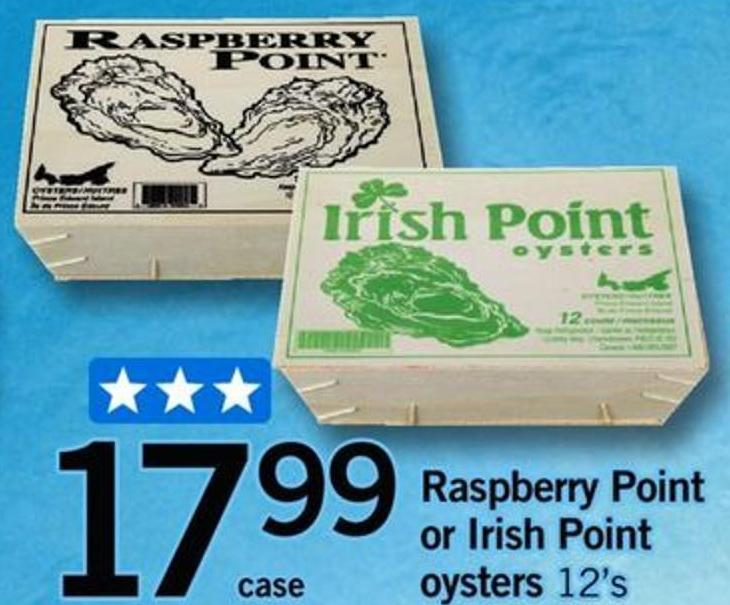 Raspberry Point Or Irish Point Oysters