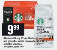Starbucks K-cup 10's Or Starbucks Roast And Ground Or Whole Bean Coffee 283-340 g