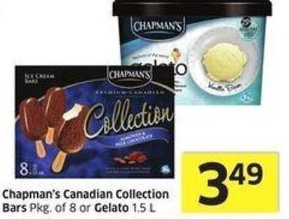 Chapman's Canadian Collection Bars Pkg of 8 or Gelato 1.5 L