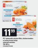 PC Buttermilk Chicken Fillet - Chicken Tenders Or Turkey Breast Strips - 750-907 G