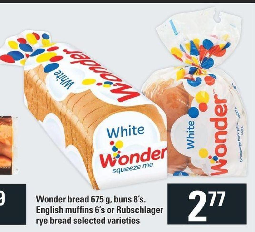 Wonder Bread 675 G - Buns 8's. English Muffins 6's Or Rubschlager Rye Bread