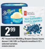 PC Frozen Fruit 400/600 G - Breyers Classic Frozen Dessert 1.66/1.89 L Or Popsicle Novelties 6-12's